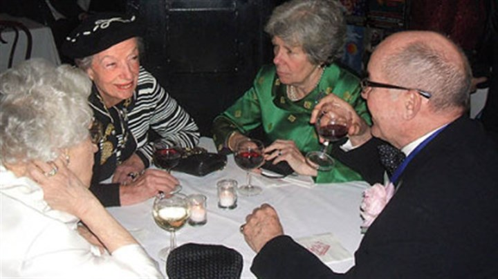 Party at Sardis Old Broadway: Ann Kaufman, second from left, daughter of playwright George S. Kaufman, and Hall of Fame inductee Jack O'Brien, right, at the post-induction party at Sardis.