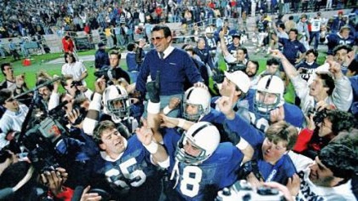 Paterno Penn State coach Joe Paterno is carried on the shoulder of his Nittany Lions players after they beat Miami, 14-10, in the Fiesta Bowl in Tempe, Ariz., Friday, Jan. 2, 1987.