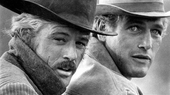 "Paul Newman and Robert Redford, 1969 In this 1969 file photo, actors Robert Redford, left, as the Sundance Kid and Paul Newman as Butch Cassidy appear in this scene from the film ""Butch Cassidy and the Sundance Kid."""
