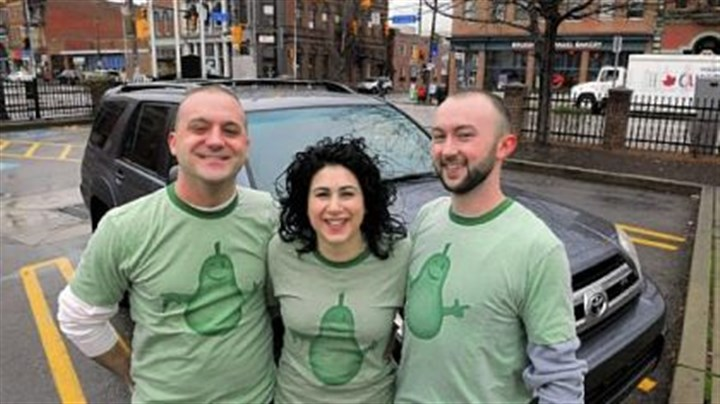Pear Transportation Tony Ciotti, Danielle Danzuso and Mike Conley join forces as Pear Transportation Co. near the 18th and Carson streets intersection on the South Side.