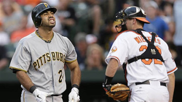 Pedro Alvarez The Pirates' Pedro Alvarez, left, reacts after he struck out swinging to end the second inning. Orioles catcher Matt Wieters, right, looks on.