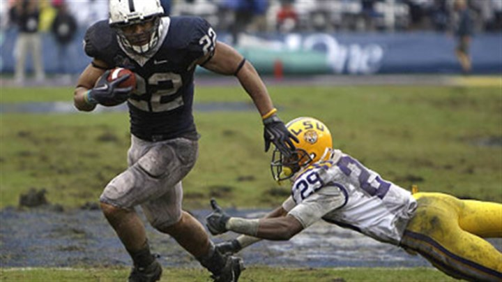 Penn State running back Evan Royster Penn State running back Evan Royster runs past LSU cornerback Chris Hawkins the 2010 Captial One Bowl. Penn State won, 19-17.
