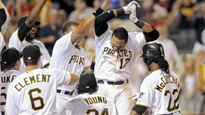 Pirates Pedro Alvarez (17) Pedro Alvarez (17) is congratulated after his walkoff home run in the 10th inning Saturday at PNC Park.