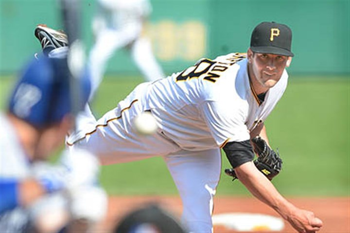 Pirates pitcher Brandon Cumpton Pirates pitcher Brandon Cumpton gave up three runs on seven hits before being taken out in the top of the fifth inning during his major league debut.
