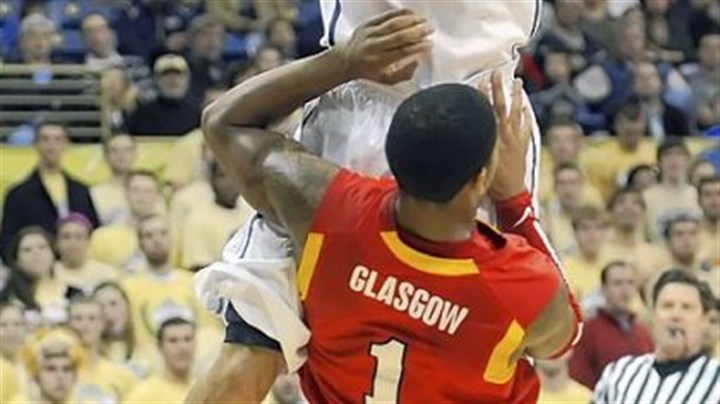 Pitt 97, VMI 70 John Johnson drives to the basket against VMI's Rodney Glasgow in the first half of Pitt's blowout win Tuesday night at Petersen Events Center. Johnson came off the bench to score 13 points.