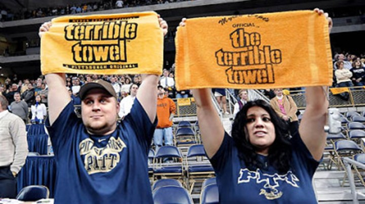 Pitt crowds show their Terrible Towels in tribute to Myron Cope Eric Zdenek, 29, and his girlfriend, Lisa Luca, 26, of Emsworth, show their respect for Myron Cope at the start of the Pitt game last night.