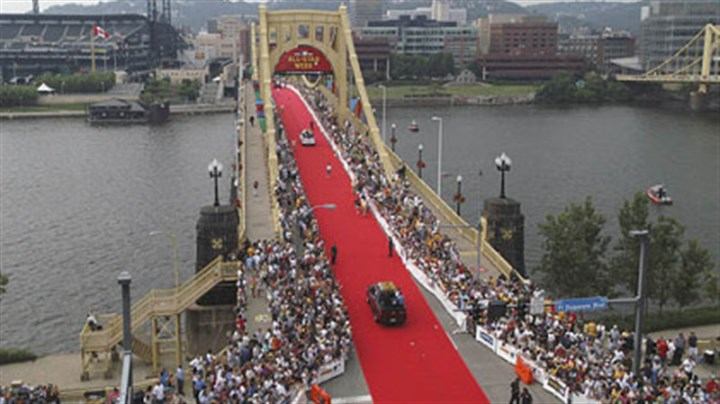 Pittsburgh's red carpet Celebrations such as this year's marking Pittsburgh's 250th birthday can give cities a shared sense of purpose. A similar event occurred in 2006, when the region rolled out the red carpet for visitors to baseball's All-Star Game.