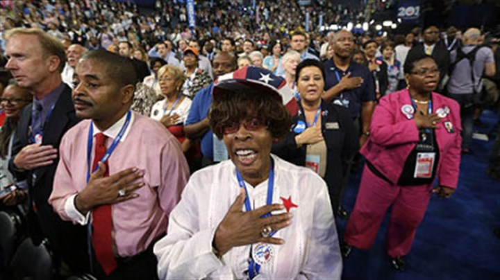 Pledge of Allegiance North Carolina delegates recites the Pledge of Allegiance on Tuesday during the Democratic National Convention in Charlotte, N.C.