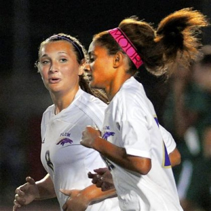 Plum soccer Ashley Amato, left, and Aaliyah Odom, right, form a potent one-two scoring punch for Plum.