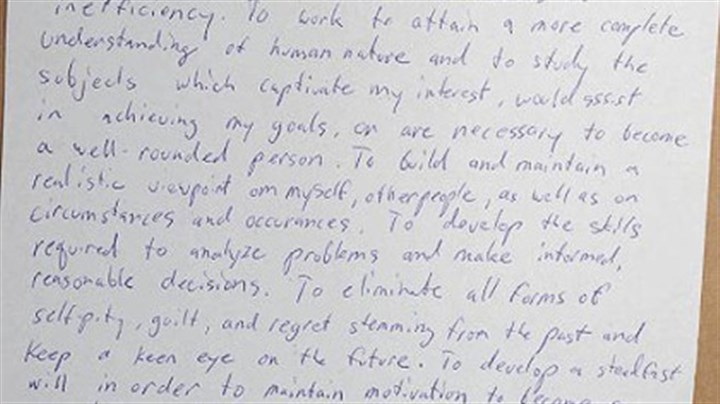 "Poplawski's letter At a remote camp in Clarion County where Richard Poplawski did target practice, a piece of paper was found dated Dec. 17, 2007, titled ""2008 New Year's Resolution."""