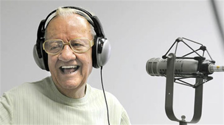 "Porky Chedwick Porky Chedwick laughs as he talks to Dale ""Jones"" Saller at the studio of WKFB 770 AM during the ""Morning Memories Show."""