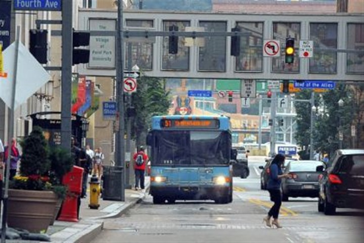 Port Authority bus The Port Authority is working on a plan, backed by Allegheny County Executive Rich Fitzgerald and Pittsburgh city Councilman Bill Peduto, to move bus stops away from the center of Downtown.
