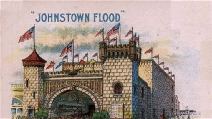 "Poster shows an attraction on Atlantic City's Boardwalk called ""Johnstown Flood."" This poster shows an attraction on Atlantic City's Boardwalk called ""Johnstown Flood."" Inside the pavilion, tourists saw images of the disaster."