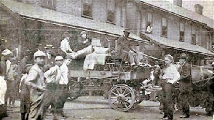 Pressed Steel Car strike Employees who waged a strike at the Pressed Steel Car Co. in the summer of 1909 were evicted from company-owned housing in the company town of Presston on Aug. 21, 1909. Deputy Sheriff Harry Exley places a baby buggy on top of the wagon's load. The next evening strikers clashed with state police on Bloody Sunday. Strikers pulled Sheriff Exley from a streetcar and killed him.