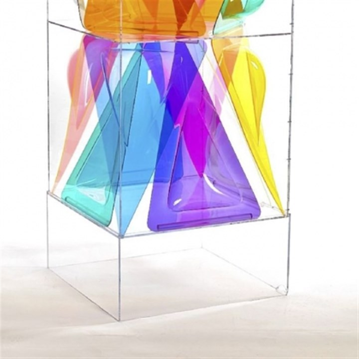"'Prismod' ""Prismod,"" a 1973 Plexiglas sculpture by the artist is 611/2-inches in height and 25 by 25-inches in width and depth."
