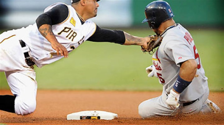 Pujois safe Umpire Eric Cooper called Pujois safe after Pirates second baseman Luis Rivas tags Cardinals Albert Pujois.