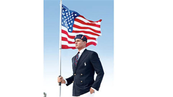 Ralph Lauren official Team USA Opening Ceremony Parade Uniform Swimmer Ryan Lochte models the Ralph Lauren official Team USA Opening Ceremony Parade Uniform.