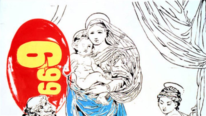 """Raphael Madonna == $6.99"" Andy Warhol's ""Raphael Madonna == $6.99"" was reproduced on the program of his memorial service at St. Patrick Cathedral."
