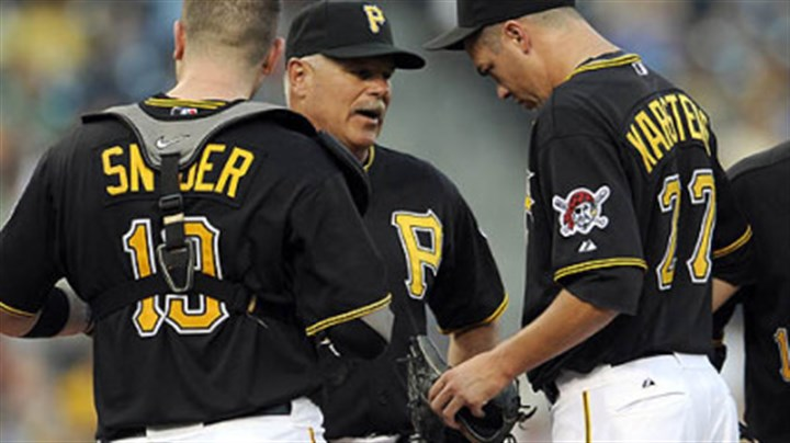 Ray Searage Pirates interim pitching coach Ray Searage talks to pitcher Jeff Karstens.