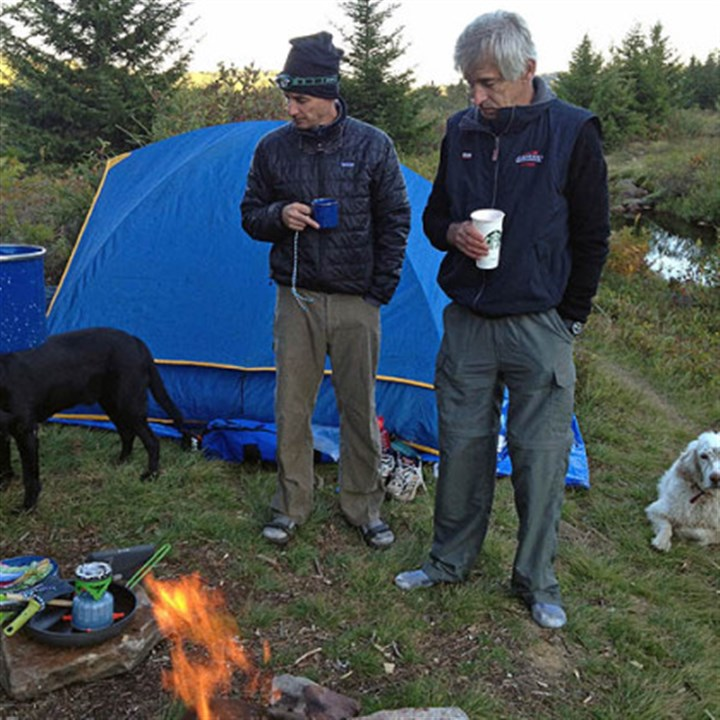Ready to camp Jay and Dennis with dogs Ned and Sailor camping at Dolly Sods.