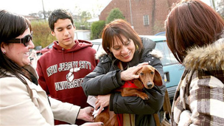 Reunited Tifanie Tiberio, left, of the Animal Rescue League, gives Tootsie, a five-year-old dachshund, back to Elda Arguello, of Pleasantville, N.J., and her children, Daniel and Edna Colon. Tootsie was found in Wilkinsburg two weeks ago. They lost Tootsie five years ago in New Jersey.