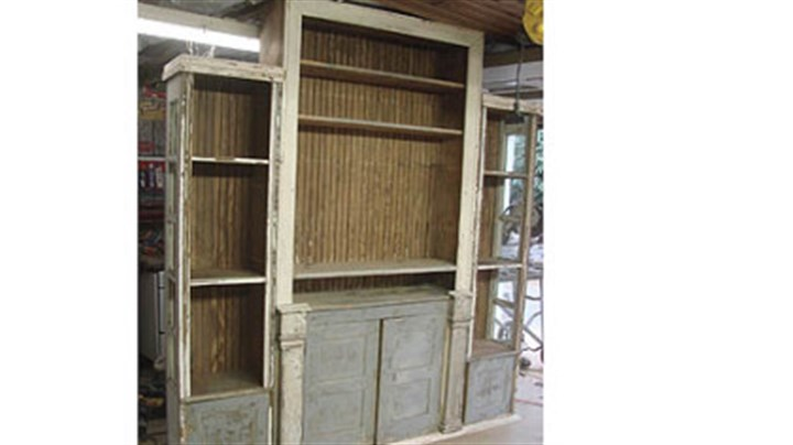 Reuse winner Stephen Palmer Stephen Palmer of Shelocta used an old cabinet, trim pieces, wainscotting and two old side lights from a front door to make an entertainment center for his mother and father. He painted their names on the piece and the names of their children on the insides of the doors.