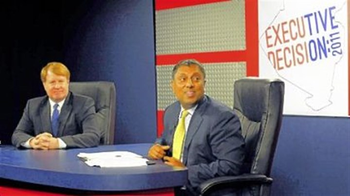 Rich Fitzgerald and D. Raja Rich Fitzgerald (left) and D. Raja during a break in the Allegheny County executive debate Thursday at Robert Morris University.