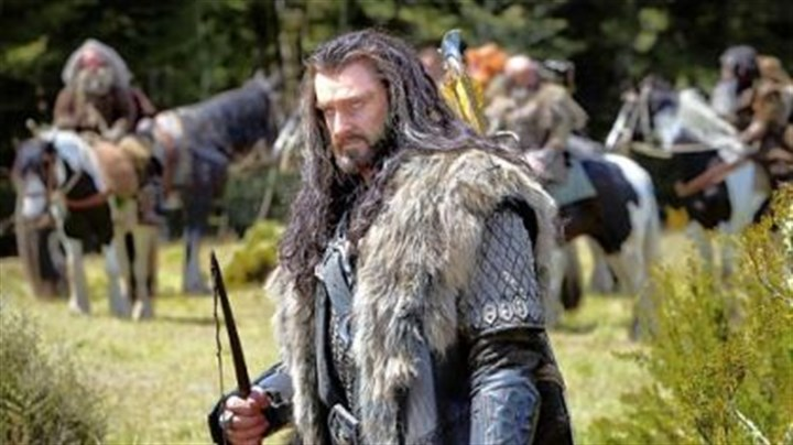 "Richard Armitage as Thorin Richard Armitage as the Dwarf warrior Thorin Oakenshield and left, at the premiere of ""The Hobbit."""