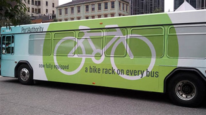 Rider alert A Port Authority bus emblazoned with a new message for bicyclists.