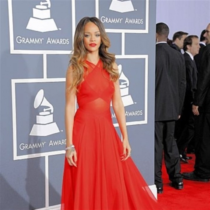 Rihanna at the Grammy Rihanna got it right in red at the 55th annual Grammy Awards.