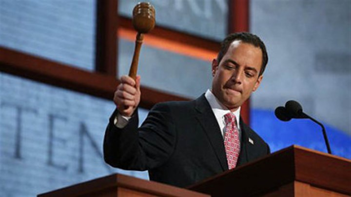 RNC Chairman Reince Priebus RNC Chairman Reince Priebus bangs the gavel to start the Republican National Convention at the Tampa Bay Times Forum.