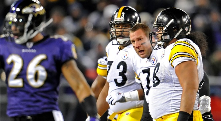 Roethlisberger's broken nose Steelers quarterback Ben Roethlisberger is helped off the field after his nose was broken from a punch by the Ravens' Haloti Ngata last season.