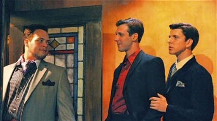 "rope Ryan K. Witt, left, as Rupert Cadall, John Steffenauer as Wyndham Brandon and Nicholas J. Browne as Charles Granillo in the Rep's production of ""Rope."""