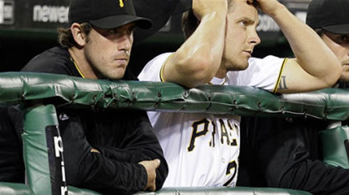Ross Ohlendorf and Kevin Hart Pirates pitchers Ross Ohlendorf, left, and Kevin Hart watch the ninth inning of a 6-0 shutout by the Diamondbacks at PNC Park last night.