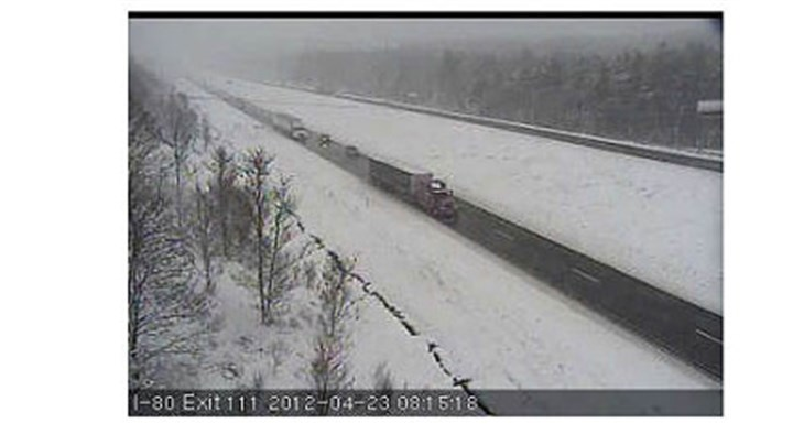 route 80 Screen capture from PennDOT traffic cam on Interstate 80 east of DuBois.