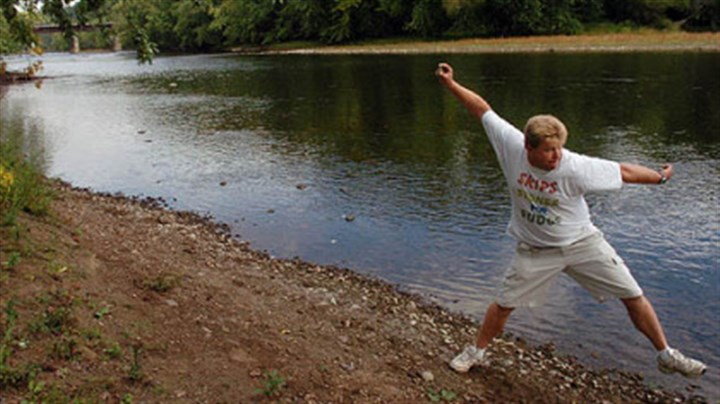 Russ Byars in action Russ Byars skips a stone at the Riverfront Park in Franklin, Venango County. Mr. Byars was recognized by Guinness World Records as the stone-skipping record holder with 51 skips.