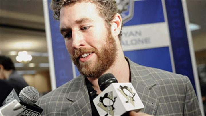 Ryan Malone Ryan Malone faces the microphones at the Cobo Center Friday == the day before the Penguins opened the Stanley Cup final against the Red Wings.