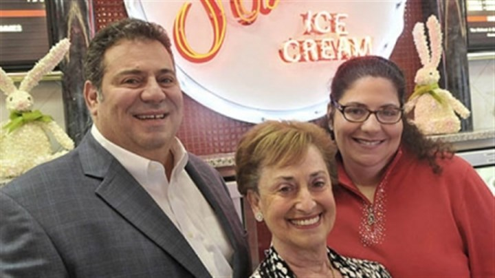 Sarris family Bill Sarris, his mother Athena Sarris and sister Sophia Sarris Heon at the ice cream counter inside Sarris Candies in Canonsburg.