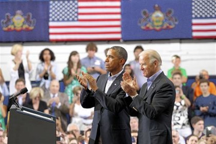 Scranton President Barack Obama and Vice President Joe Biden after talking about college affordability at the Lackawanna College gymnasium in Scranton, Pa., on Friday.