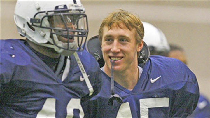 Sean Lee Penn State's Sean Lee, right, with Maurice Evans during a football practice at State College in March of 2008.