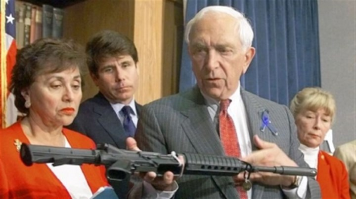 Sen. Frank Lautenberg Sen. Frank Lautenberg, D-N.J., displays an AR-15 carbine at a news conference where he and other Democrats urged the House to pass his version of gun control legislation in June 1999.