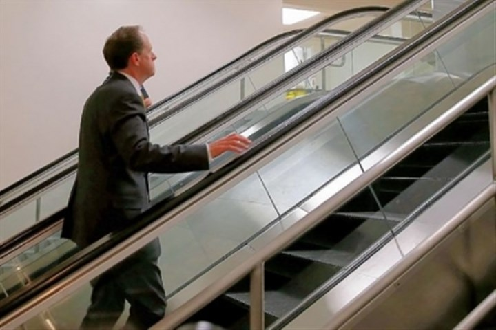 Sen. Toomey Sen. Toomey walks up an escalator as he makes his way to the Senate floor on Capitol Hill.