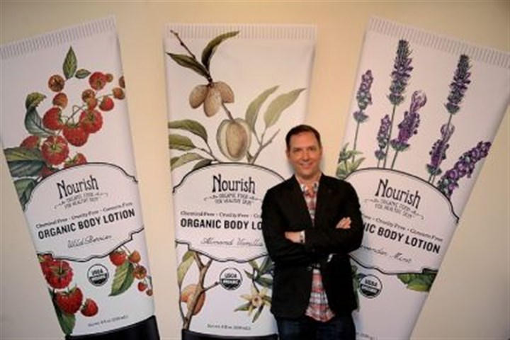 Sensible Organics Robillard Sensible Organics chief executive Rob Robillard is seen here in front of the company's Nourish Organic line of skin products.