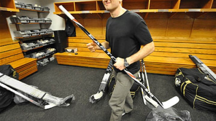Sergei Gonchar Sergei Gonchar heads for the locker room door Friday after packing up his gear at Mellon Arena. With Gonchar a free agent, will it be for the last time?