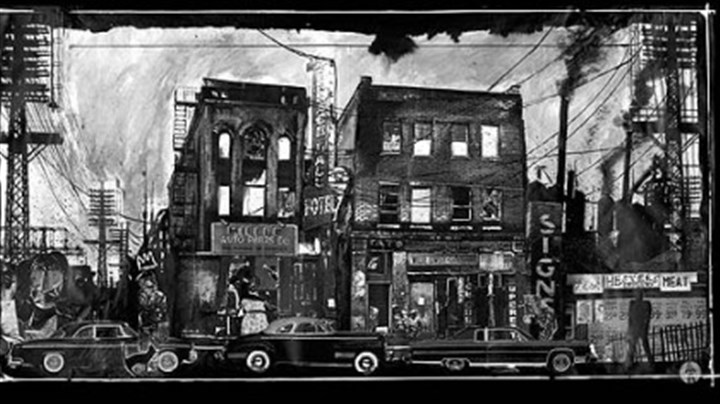 "Set designed by David Gallo This full-stage panorama of the Hill District by David Gallo, originally used as the show curtain for ""Radio Golf"" on Broadway, served as the backdrop for all 10 plays in August Wilson''s Pittsburgh Cycle at Kennedy Center."