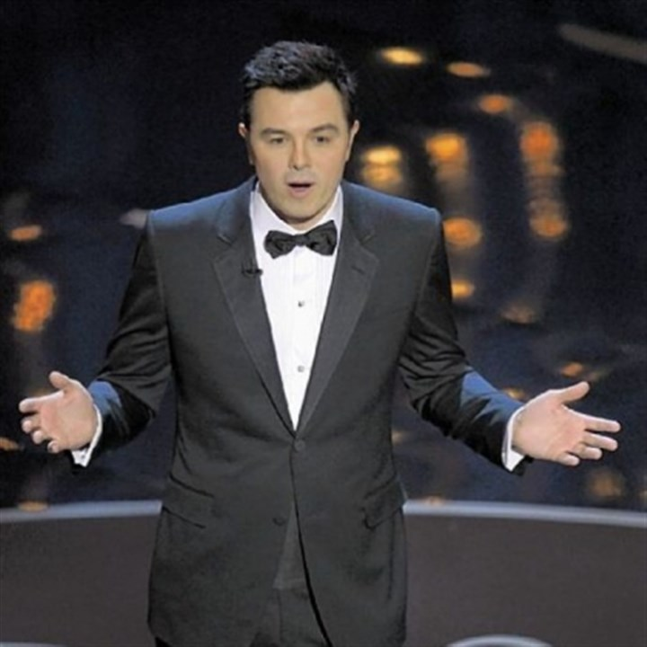 Seth MacFarlane hosts Oscars Host Seth MacFarlane drew gasps from the audience with a joke about Abraham Lincoln and John Wilkes Booth at Sunday night's Oscars at the Dolby Theatre in Los Angeles.