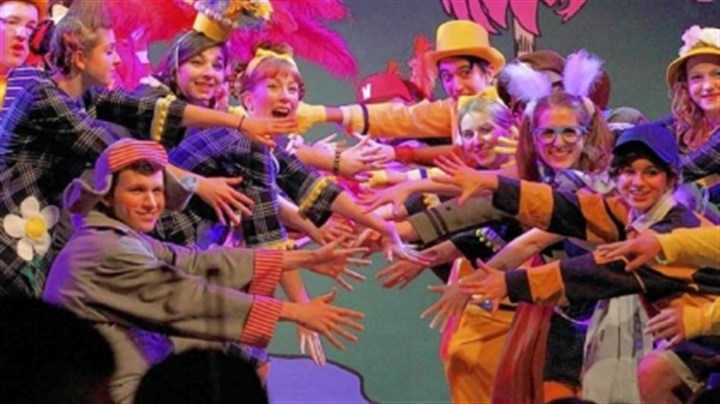 "Seussical-1 Horton, Danny Cinski, lower left, and The Mayor, Michael Bodomov, upper right, and some of the Blue Cast ensemble in Mt. Lebanon High School?s ""Seussical."""