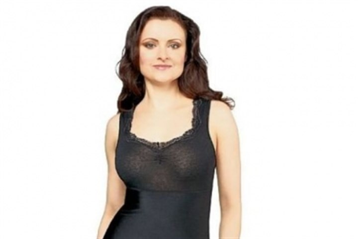 Shaping tank Jockey three-panel shaping tank with lace trim from QVC is $36; available in black, white, light nude, dried lavender or sheer rose.