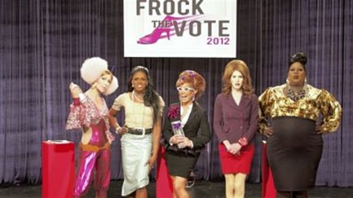 "Sharon Needles Pittsburgh's Sharon Needles, second right, won the ""Frock the Vote"" challenge on ""RuPaul's Drag Race."""