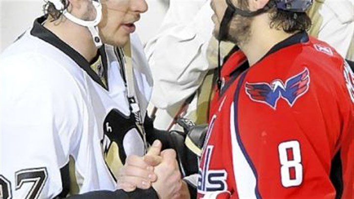Sidney Crosby and Alex Ovechkin Penguins forward Sidney Crosby shakes hands with Capitals forward Alex Ovechkin following Game 7 of last seasons's Eastern Conference semifinal at the Verizon Center in Washington.
